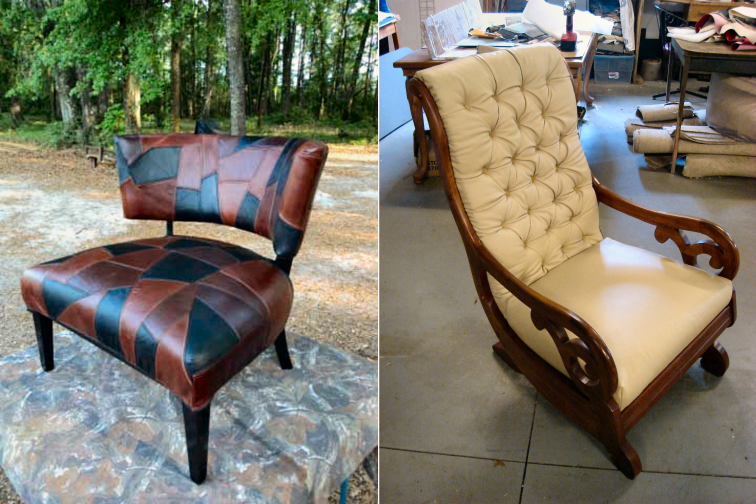Chair and Rocker in leather